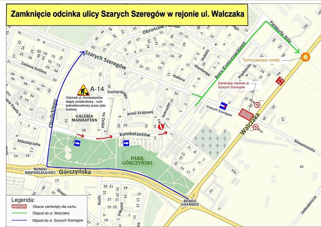 Lipiec 2021 r. Modernizacja wschodniego wylotu drogi krajowej nr 22 w Gorzowie. Wjazd i wyjazd z ul. Walczaka w Szarych Szeregów nie będzie możliwy