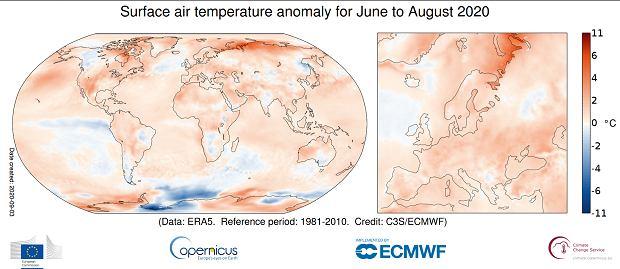 Anomalie temperatury latem (w okresie czerwiec-sierpień) 2020 r.