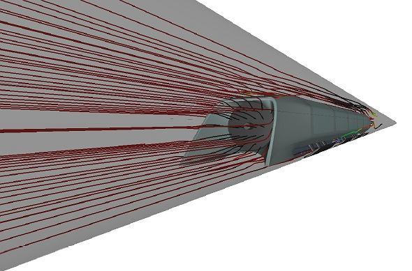 Przepływ strug powietrza wokół kapsuły Hyperloop