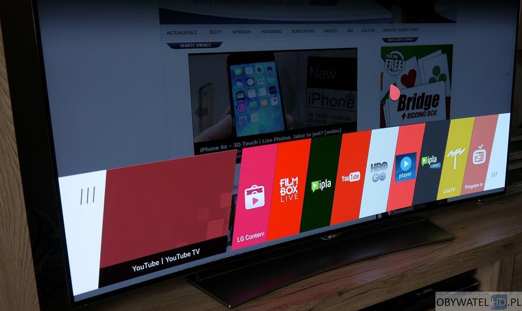 webOS dolne menu