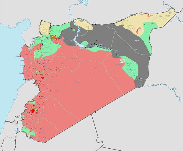 Układ sił w Syrii - 16 marca 2014 roku