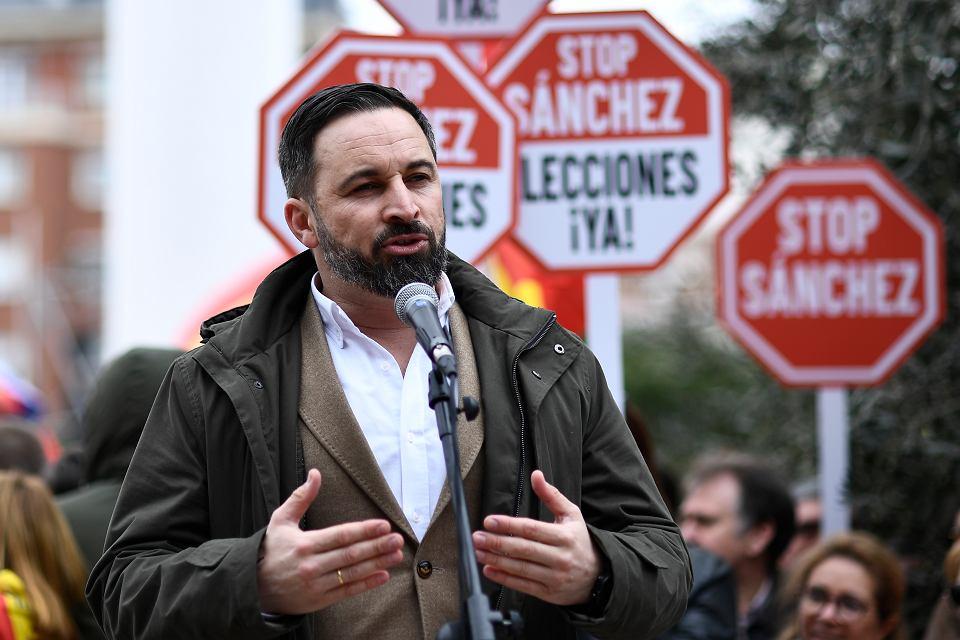 10.02.2019, Madryt, Santiago Abascal, lider skrajnie prawicowej partii Vox na manifestacji przeciwko polityce rządu hiszpańskiego wobec Katalonii.
