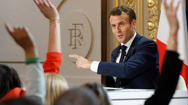 Prezydent Francji Emmanuel Macron na konferencji prasowej w Pałacu Elizejskim, 25.04.2019