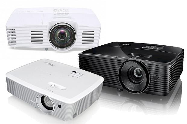 Przykładowe projektory wykorzystujące technologię DLP: Acer, Optoma