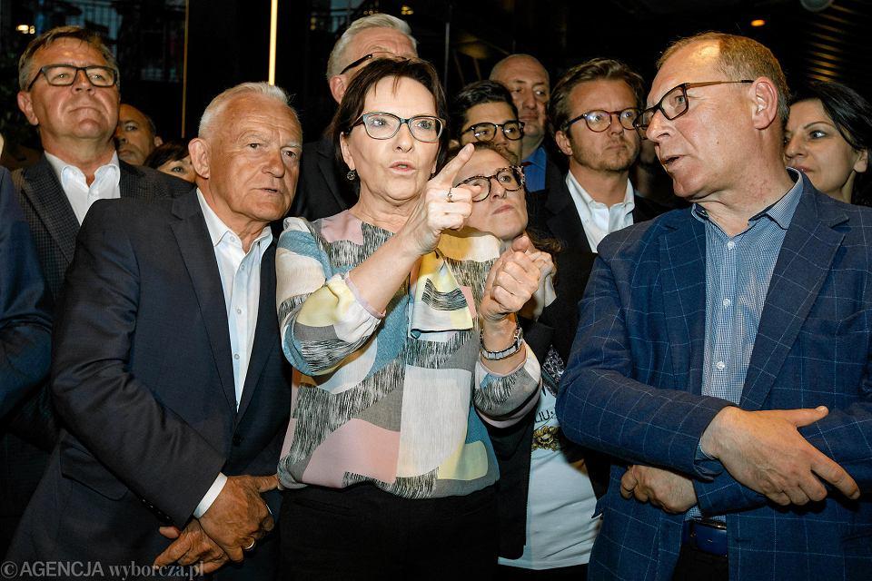 Leszek Miller, Ewa Kopacz , Michał Wawrykiewicz , Waldy Dzikowski. Wieczór wyborczy Koalicji Europejskiej