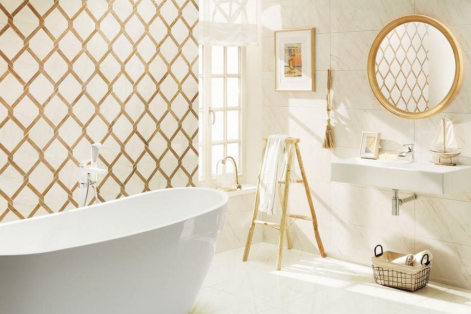 Kafelki do łazienki - biel i miedź to bardzo modne i efektowne połączenie, nie tylko do salonu