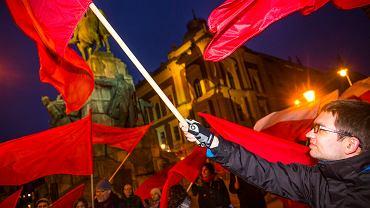 23.03.2016, Kraków, happening partii Razem 'semperit 1936 czyli krakowska krwawa wiosna'