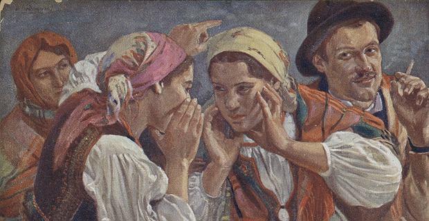 Wincenty Wodzinowski (1866-1940), 'Tajemnicze zwierzenia', reprodukcja na pocztówce z 1913 r.