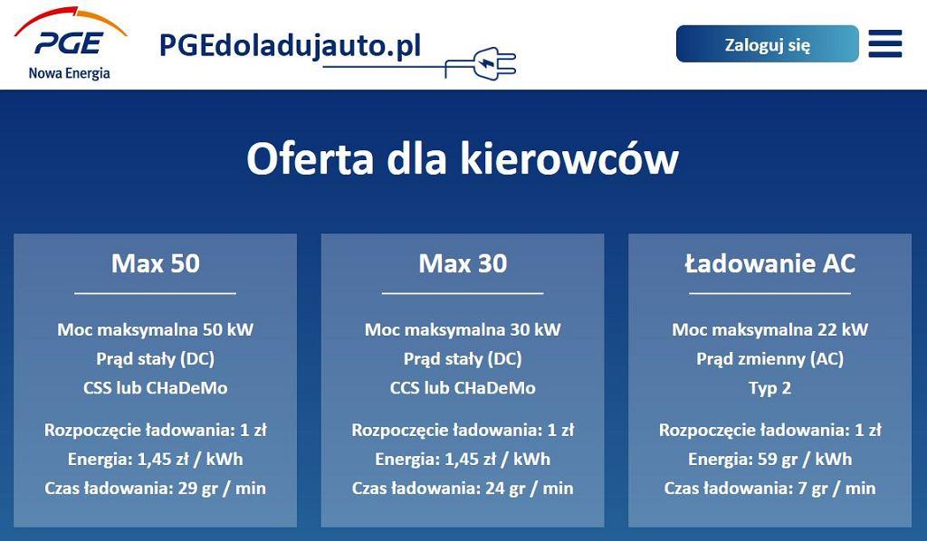 PGE - cennik ładowania samochodów elektrycznych
