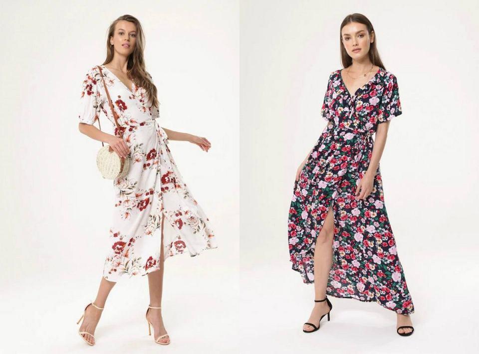 Kwieciste sukienki z paskiem