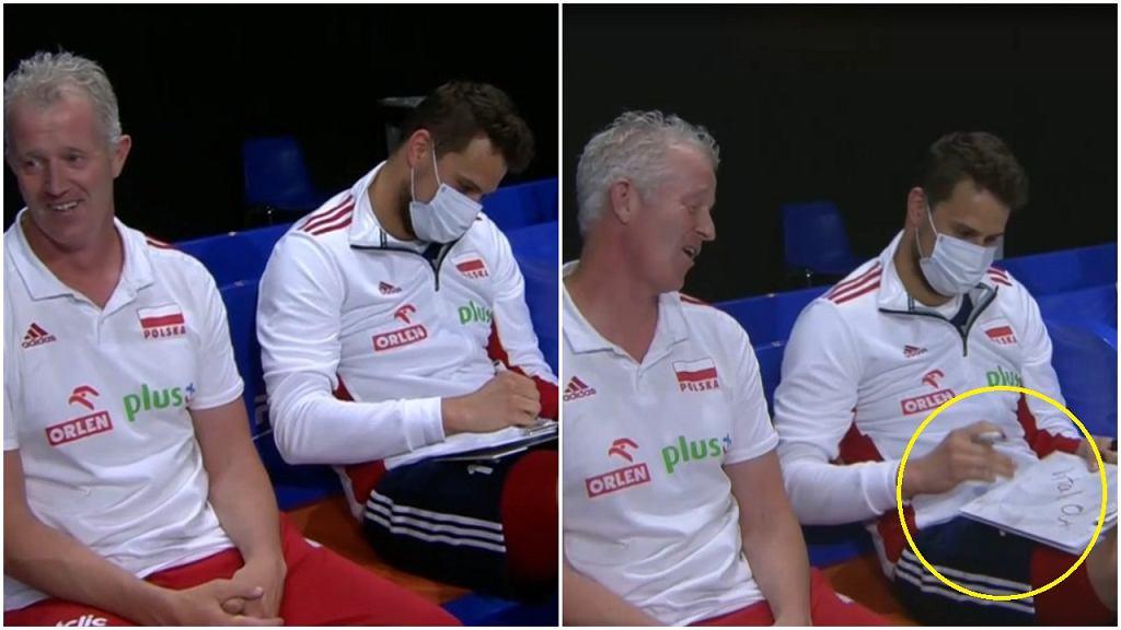 Vital Heynen i Fabian Drzyzga podczas meczu Ligi Narodów z Holandią