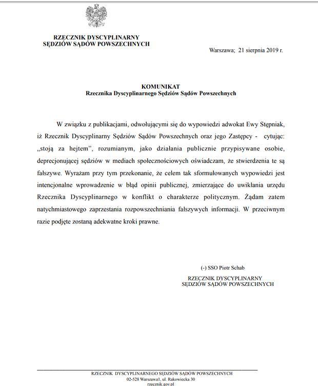 Komunikat rzecznika dyscyplinarnego sędziów