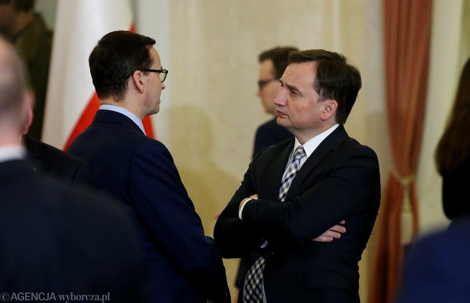 Premier Mateusz Morawiecki i minister sprawiedliwości i prokurator generalny Zbigniew Ziobro