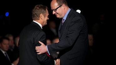 Donald Tusk i Paweł Adamowicz w 2014 r.