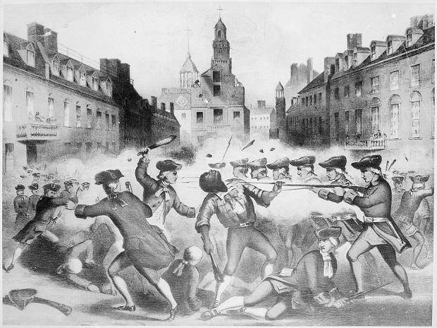 Rycina przedstawiająca masakrę bostońską autorstwa złotnika Paula Revere'a. Obrazek został wydrukowany w setkach kopii i stał się ikoną amerykańskiej rewolucji