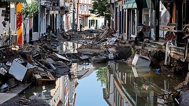 Niemcy. Tereny spustoszone przez powódź.