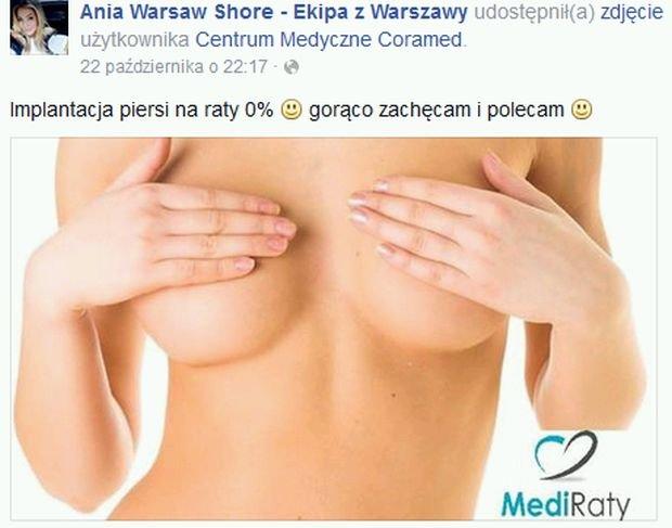 Duża Ania poleca na FB implantację piersi na raty