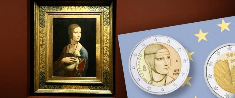 ''Dama z gronostajem'' na monecie 2 euro. Obraz jest w Polsce