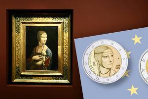 Dama z gronostajem na monecie o nominale 2 euro. Słynny obraz da Vinci znajduje sięw Krakowie