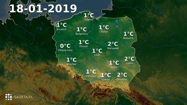 Mapa temperatury 18.01.2019r