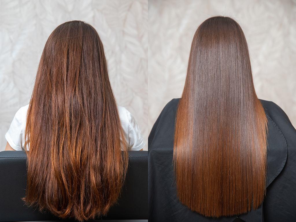 Botoks włosów - przed i po