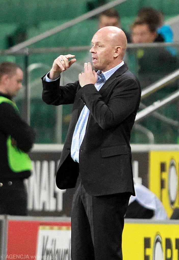Trener Legii Henning Berg podczas meczu z Lokeren