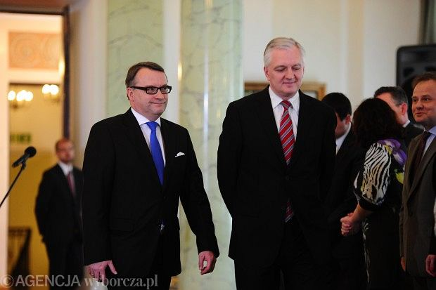 Marek Biernacki i Jarosław Gowin podczas nominacji nowego ministra sprawiedliwości