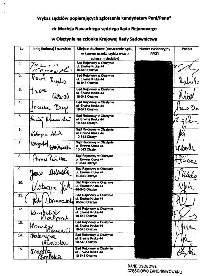 Lista poparcia sędziego Nawackiego