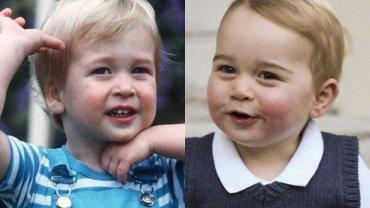 Książę William w 1984 roku i książę George w listopadzie 2014 roku