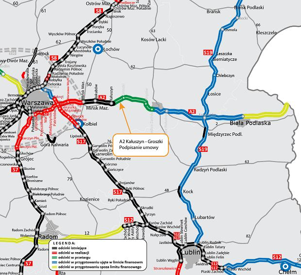 GDDKiA podpisała umowę na budowę pierwszego odcinka A2 z Mińska Mazowieckiego do Siedlec.