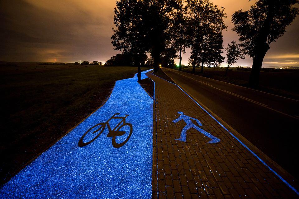 Zdjęcie numer 1 w galerii - Świecąca ścieżka rowerowa wyprodukowana pod Warszawą. Pierwsza w Polsce [ZDJĘCIA]