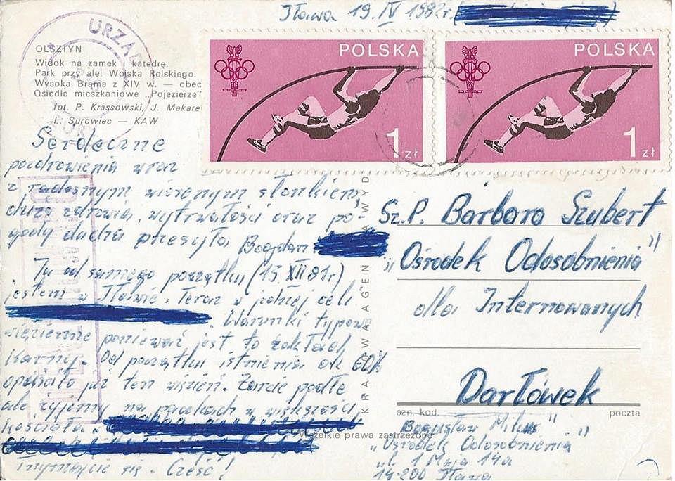 Ocenzurowana kartka pocztowa od internowanego Bogusława Mikusa do Barbary Szubert