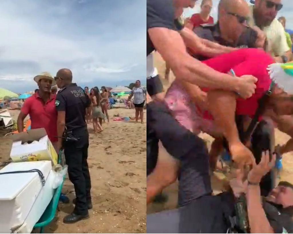 Policjant został trzykrotnie raniony przez nielegalnie handlującego mężczyznę na plaży na południu Hiszpanii.