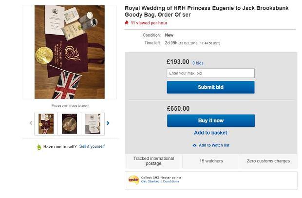 Upominki dla gości ze ślubu księżniczki Eugenii na eBay'u