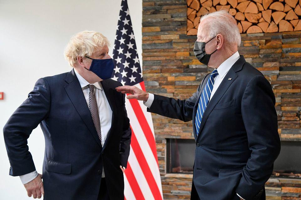 10.06.2021 Wielka Brytania, Cornwall. Joe Biden i Boris Johnson podczas spotkania w trakcie szczytu G7
