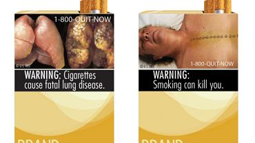 Dwa z dziewięciu zaaprobowanych przez FDA projektów paczek papierosów