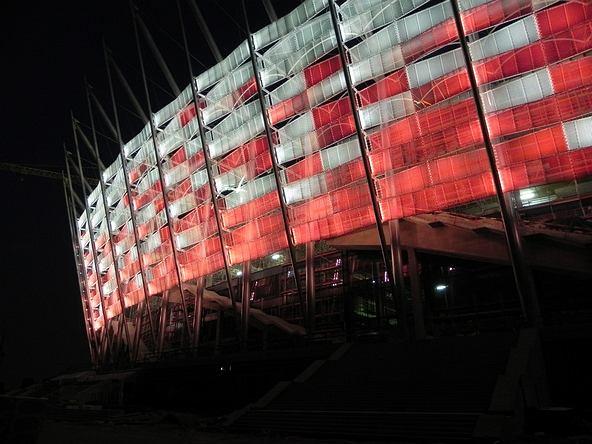 Próba iluminacji Stadionu Narodowego