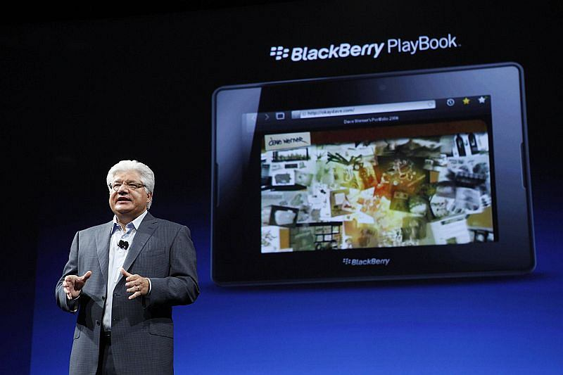 Mike Lazaridis, President and Co-CEO of Research In Motion, speaks about the BlackBerry PlayBook tablet, during BlackBerry's DevCon at the Moscone West Center in San Francisco, California, October 18, 2011. REUTERS/Beck Diefenbach (UNITED STATES - Tags: BUSINESS SCIENCE TECHNOLOGY)