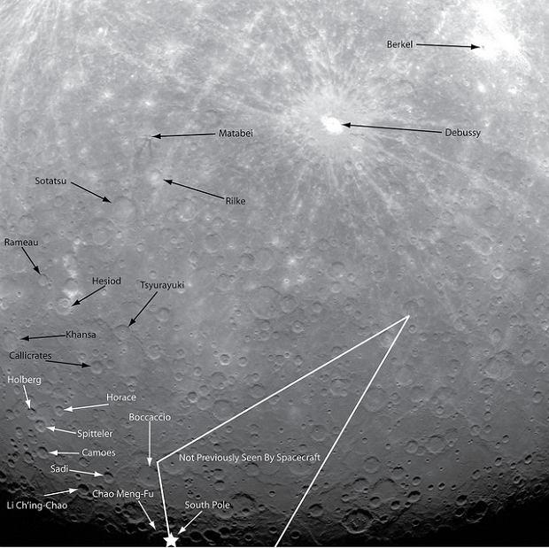 pierwsze w historii zdjęcie Merkurego wykonane z orbity tej planety, fot. NASA