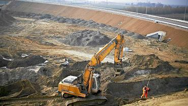 Prace budowlane na węźle autostrad A1 i A2 w Strykowie