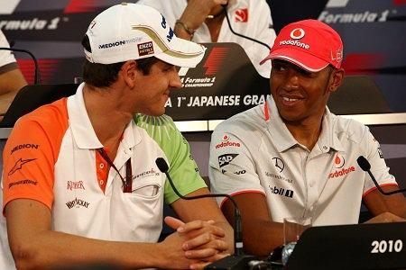 Adrian Sutil, Lewis Hamilton