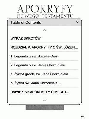 Kindle Touch - spis treści