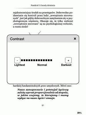 Kindle Touch - zmiana kontrastu