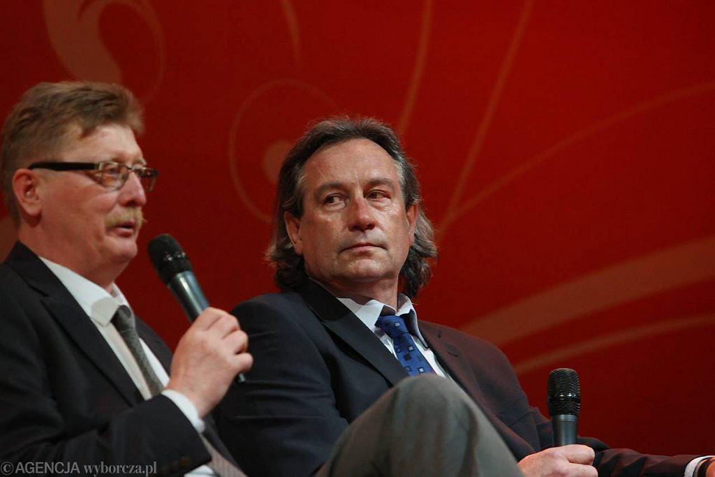 Siatkarscy złoci medaliści olimpijscy z Montrealu Lech Łasko (z lewej) i Tomasz Wójtowicz