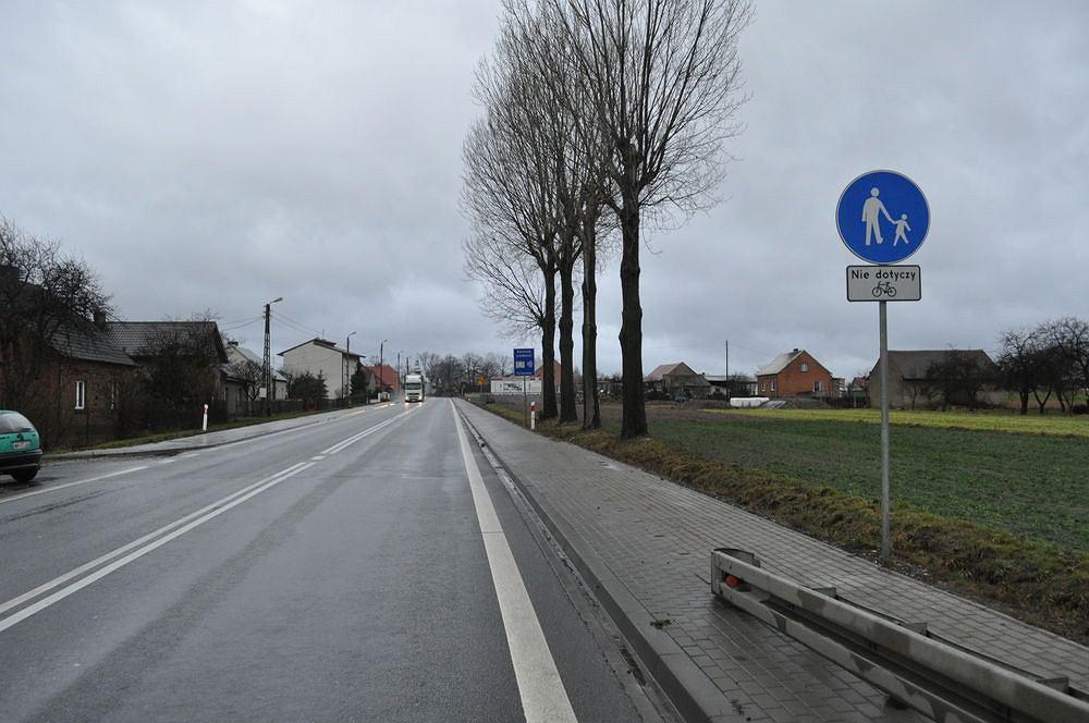 Przykład chodnika z dopuszczonym ruchem rowerów przy Drodze Krajowej numer 8.