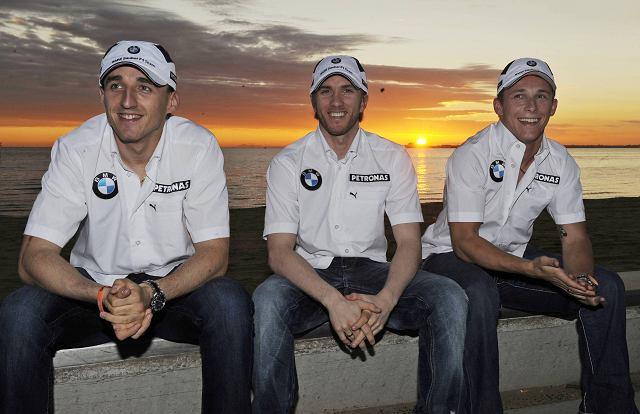 Kierowcy BMW Sauber : Robert Kubica, Nick Heidfeld i Christian Klien czekają na decyzję FIA