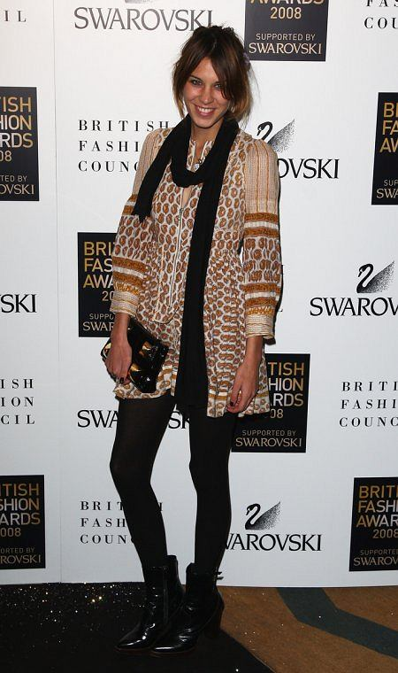 Alexa Chung na gali British Fashion Awards 2008