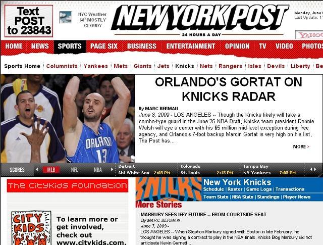 Czołówka serwisu New York Knicks na stronie New York Post