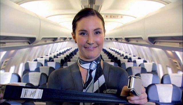Naga prezentacja w samolocie fot. AP