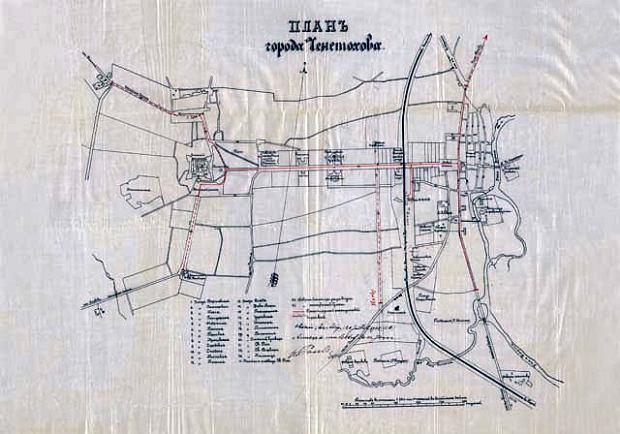 Projekt tramwajów Georga Franza Karola Gustawa Poule z 1905 r. Liniami przerywanymi zaznaczono trasy fakultatywne, czyli do zbudowania wg uznania inwestora